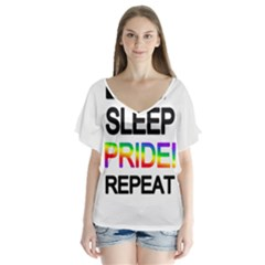 Eat sleep pride repeat Flutter Sleeve Top