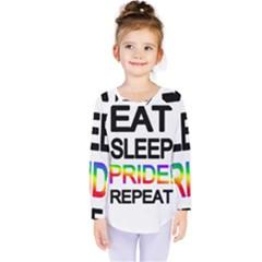 Eat sleep pride repeat Kids  Long Sleeve Tee