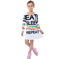 Eat sleep pride repeat Kids  Long Sleeve Velvet Dress