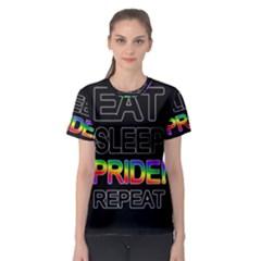 Eat sleep pride repeat Women s Sport Mesh Tee