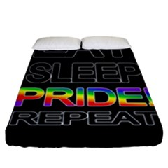 Eat sleep pride repeat Fitted Sheet (King Size)