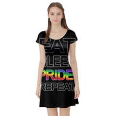 Eat sleep pride repeat Short Sleeve Skater Dress