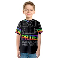 Eat sleep pride repeat Kids  Sport Mesh Tee