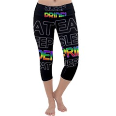 Eat sleep pride repeat Capri Yoga Leggings