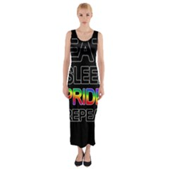 Eat sleep pride repeat Fitted Maxi Dress