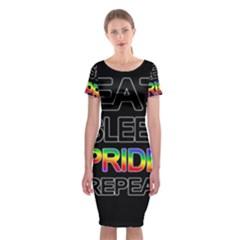 Eat sleep pride repeat Classic Short Sleeve Midi Dress