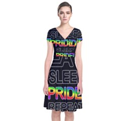 Eat sleep pride repeat Short Sleeve Front Wrap Dress