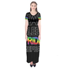 Eat sleep pride repeat Short Sleeve Maxi Dress