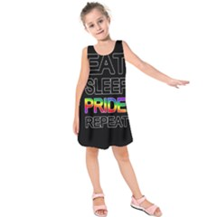 Eat sleep pride repeat Kids  Sleeveless Dress