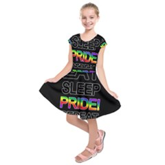 Eat sleep pride repeat Kids  Short Sleeve Dress