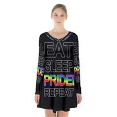Eat sleep pride repeat Long Sleeve Velvet V-neck Dress