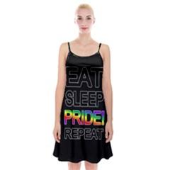 Eat sleep pride repeat Spaghetti Strap Velvet Dress