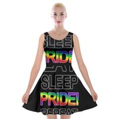 Eat sleep pride repeat Velvet Skater Dress