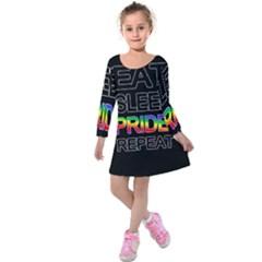 Eat sleep pride repeat Kids  Long Sleeve Velvet Dress