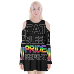 Eat sleep pride repeat Velvet Long Sleeve Shoulder Cutout Dress