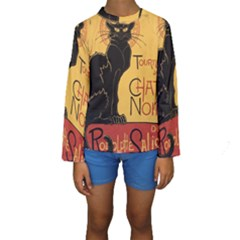 Black cat Kids  Long Sleeve Swimwear