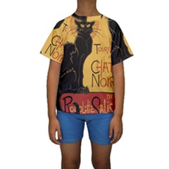 Black cat Kids  Short Sleeve Swimwear