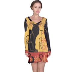 Black cat Long Sleeve Nightdress
