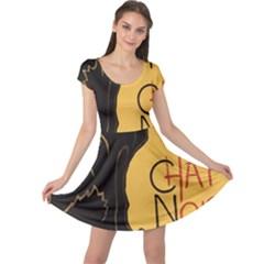 Black cat Cap Sleeve Dresses