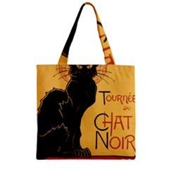 Black cat Zipper Grocery Tote Bag