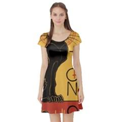 Black cat Short Sleeve Skater Dress