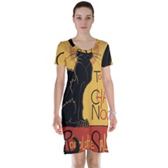 Black cat Short Sleeve Nightdress