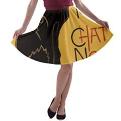 Black cat A-line Skater Skirt