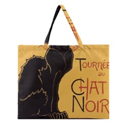 Black cat Zipper Large Tote Bag