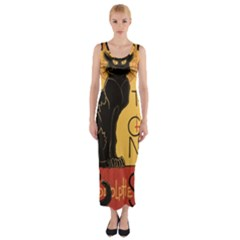 Black cat Fitted Maxi Dress