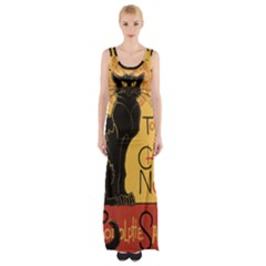 Black cat Maxi Thigh Split Dress