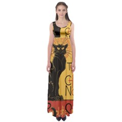 Black cat Empire Waist Maxi Dress