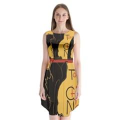 Black cat Sleeveless Chiffon Dress