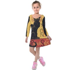 Black cat Kids  Long Sleeve Velvet Dress