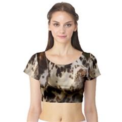Dalmatian Liver Short Sleeve Crop Top (Tight Fit)