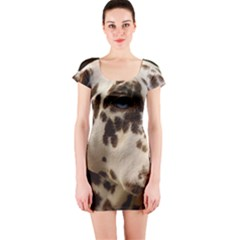 Dalmatian Liver Short Sleeve Bodycon Dress