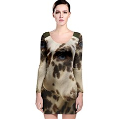 Dalmatian Liver Long Sleeve Velvet Bodycon Dress