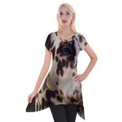 Dalmatian Liver Short Sleeve Side Drop Tunic
