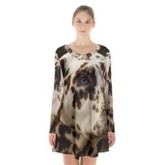 Dalmatian Liver Long Sleeve Velvet V-neck Dress