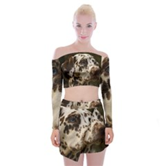 Dalmatian Liver Off Shoulder Top with Skirt Set
