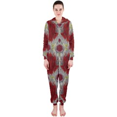 Paint On Water Falls,in Peace And Calm Hooded Jumpsuit (Ladies)