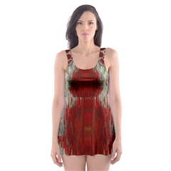 Paint On Water Falls,in Peace And Calm Skater Dress Swimsuit