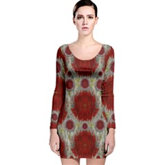 Paint On Water Falls,in Peace And Calm Long Sleeve Velvet Bodycon Dress