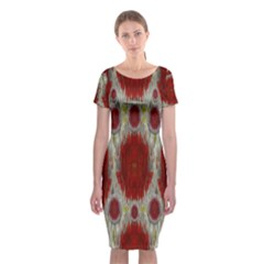 Paint On Water Falls,in Peace And Calm Classic Short Sleeve Midi Dress