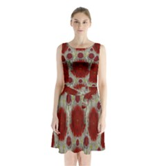 Paint On Water Falls,in Peace And Calm Sleeveless Chiffon Waist Tie Dress