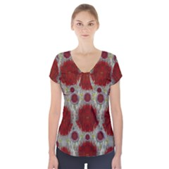 Paint On Water Falls,in Peace And Calm Short Sleeve Front Detail Top