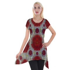 Paint On Water Falls,in Peace And Calm Short Sleeve Side Drop Tunic