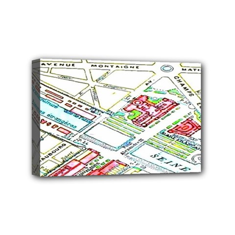 Paris Map Mini Canvas 6  x 4