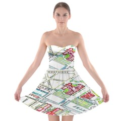 Paris Map Strapless Bra Top Dress