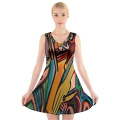 Vivid Colours V-Neck Sleeveless Skater Dress
