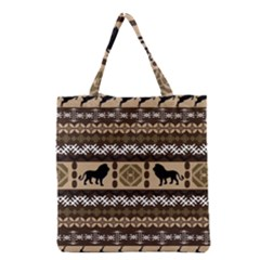 Lion African Vector Pattern Grocery Tote Bag
